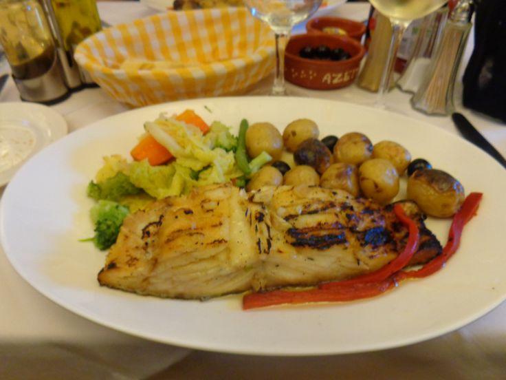 Sun dried cod grilled with roast potatoes in skins @ Restaurant Bar Estrela