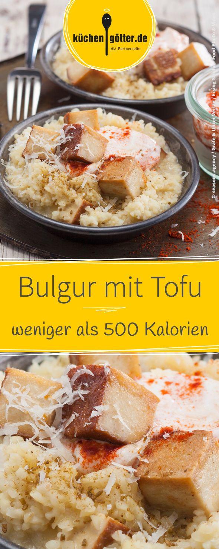 Rezept für Bulgur mit Räuchertofu. Macht schnell satt, ohne zu beschweren und mit weniger als 500 Kalorien pro Portion.