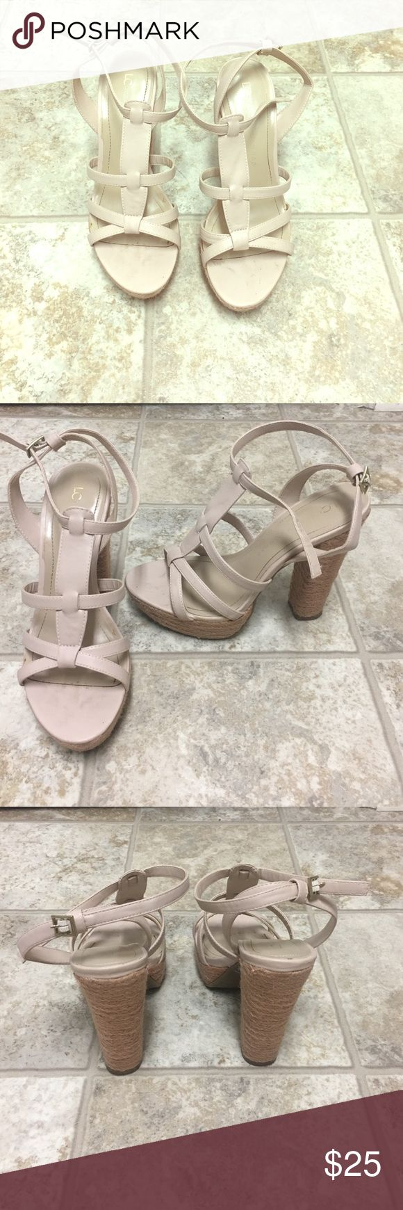 Nude/light pink LC Lauren Conrad heels size 7 Only worn once for a wedding. Size 7. Super comfy! They're a nude/light pink color. LC Lauren Conrad Shoes Heels