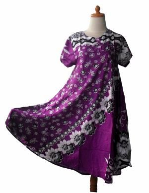 Daster Batik Bunga Ungu Dress Baju Tidur Longdress Batik
