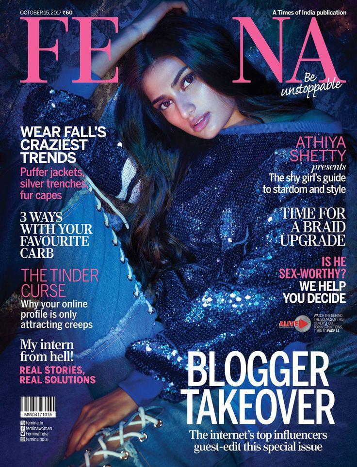 Femina, October 2017. Athiya Shetty on the Magazine Cover.