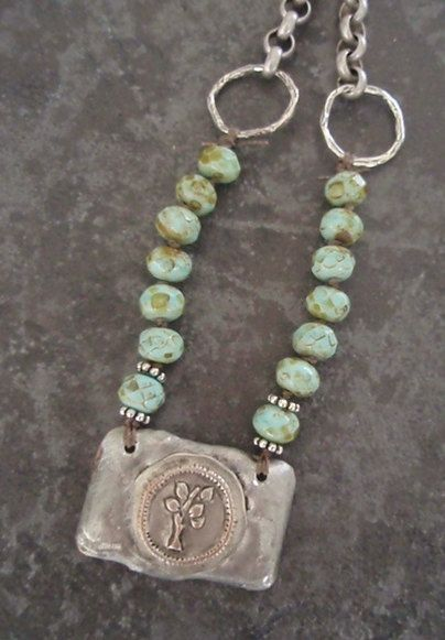 Organic Tree of Life necklace - Sprout - rustic mint green artisan sterling silver OOAK country girl chic inspirational boho bohemian