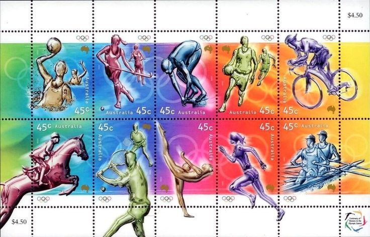 Stamp: Popular Olympic Sports (Australia) (Olympic Games) Mi:AU 1951-1960KB,Sg:AU 2005-2014,Sev:AU 1861ms