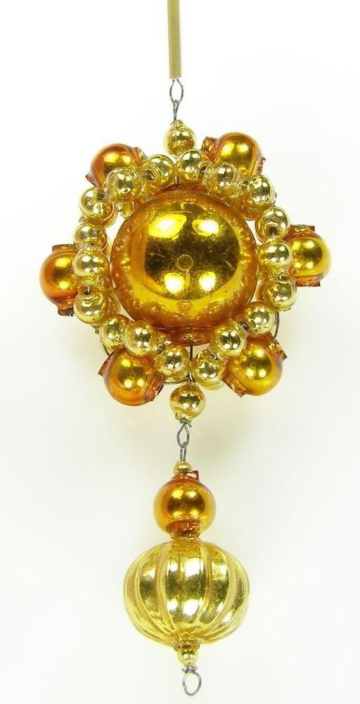 """Old Blown Hollow Glass Beads Czech Christmas Decoration Golden Mirror 4"""" Tall"""