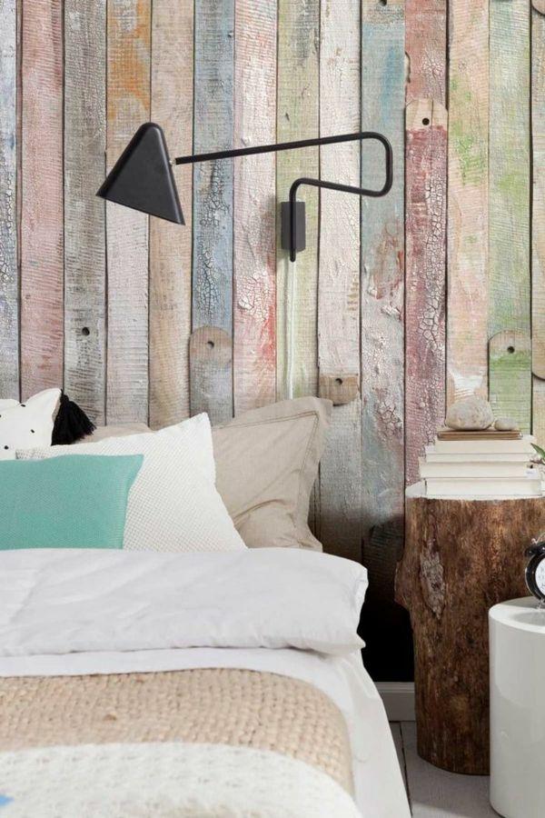 schlafzimmer wandgestaltung farbige holzpaneele attraktiv