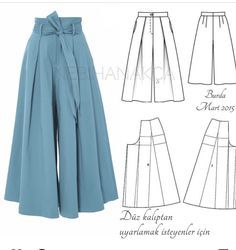 Very wide leg trousers pattern