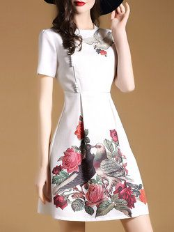 White Floral A-line Elegant Mini Dress