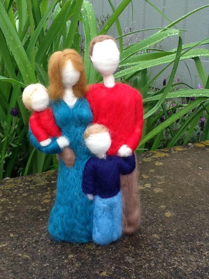 Custom needle felted family