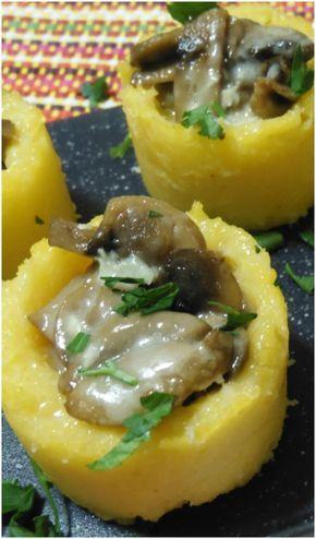 Cestini di polenta con funghi e gorgonzola ! #ricetta #cestini #polenta #funghi #gorgonzola #ricettegustose