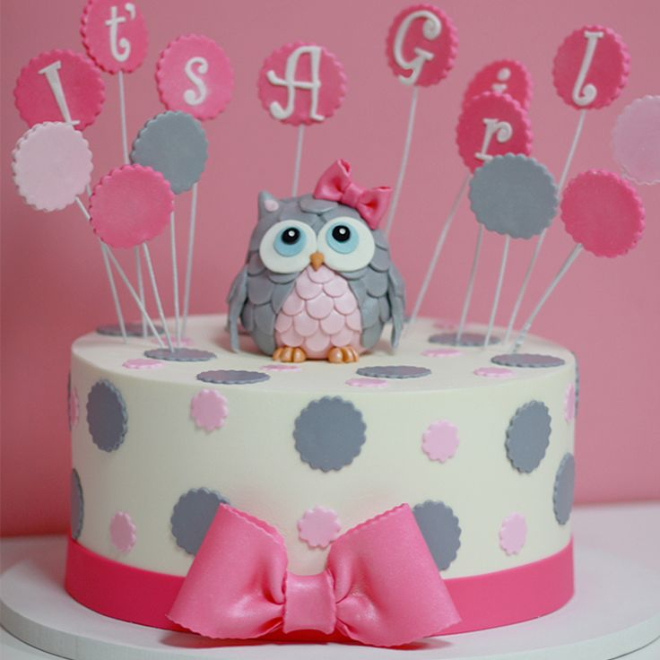 Its A Girl Baby Shower Cake Sweet Memories Bakery Polka Dot Pink Bow Cute  Owl Topper   Sweet Memories Bakery