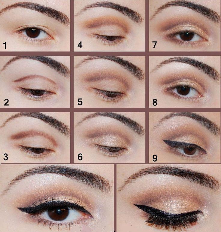 augen make-up braune-augen-anleitung-nude-lidschatten-schwarzer-lidstrich