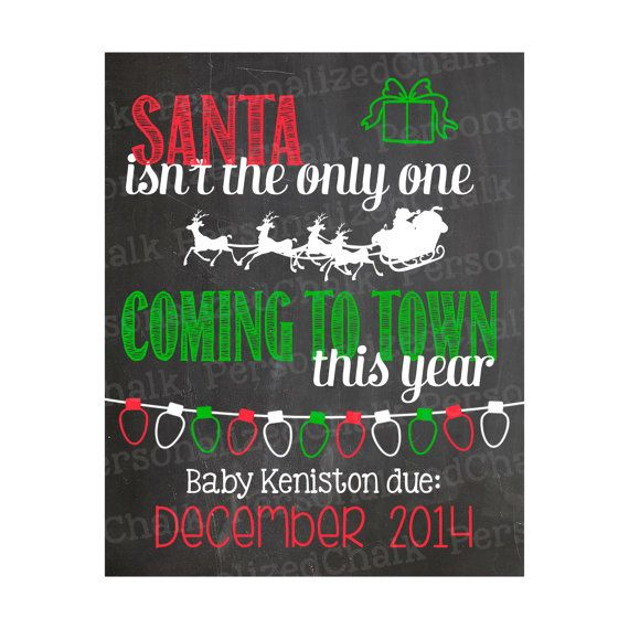 Christmas Pregnancy Announcement Chalkboard Poster Printable Photo Shoot Photo Prop Chalk Board Christmas Pregnancy Reveal, $10.00
