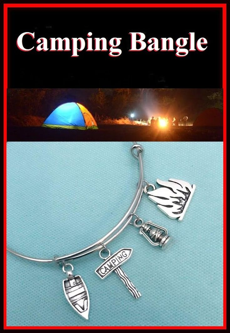 Boat, Hurricane Lamp, Fire & Camping Charms Bangle. Camper Gift.