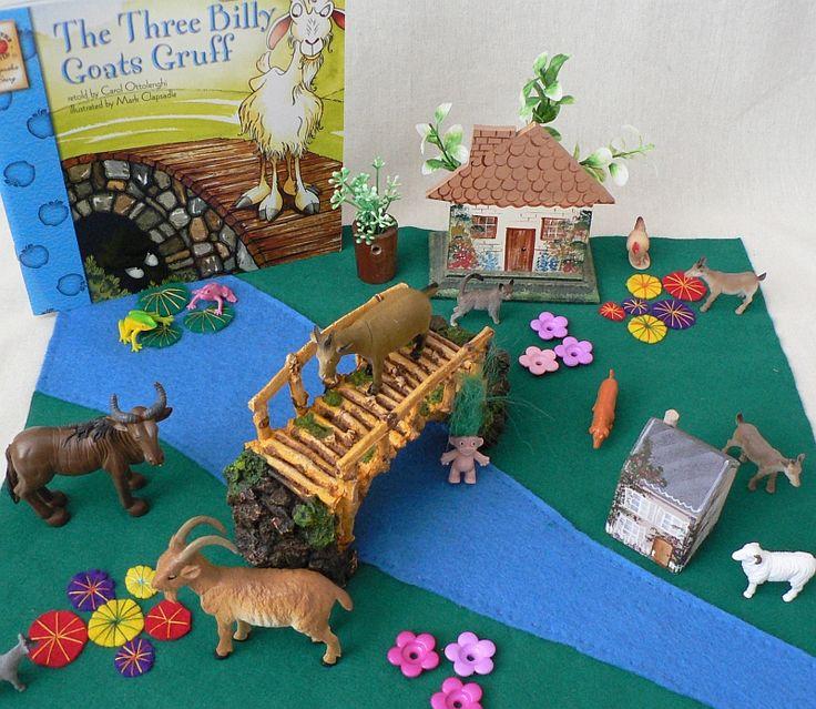 landskap i filt, lage bro av steiner eller pinner, troll på veslefrikk, geiter på leketøysbutikk
