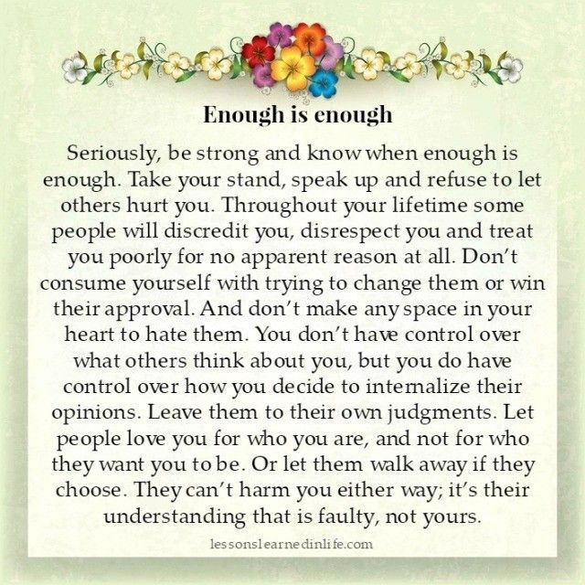 Lessons Learned in Life | Know when enough is enough.