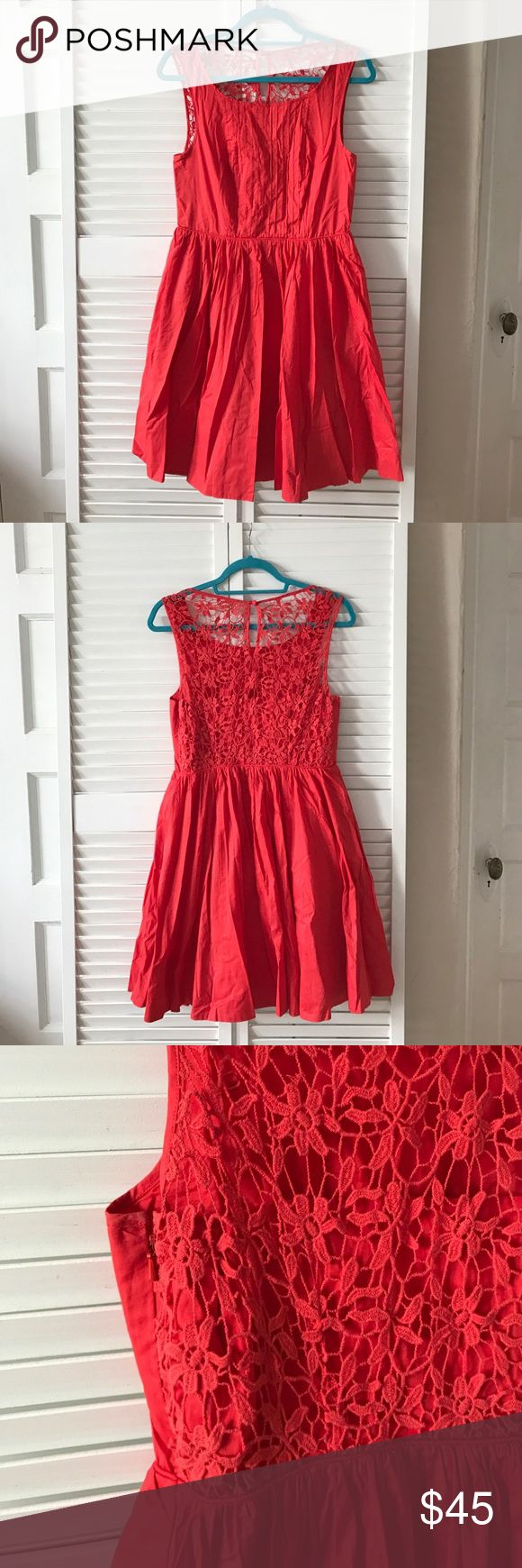 Moulinette Soeurs Red Lace Dress Moulinette Soeurs for Anthropologie. Stunning red lace dress! Lace detail on back yoke, with button closure. Dress also features invisible side zipper and bra strap holders. Perfect mix of casual and fancy. Anthropologie Dresses