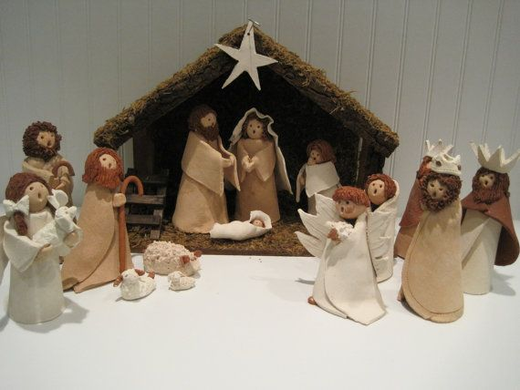 Vintage clay nativity