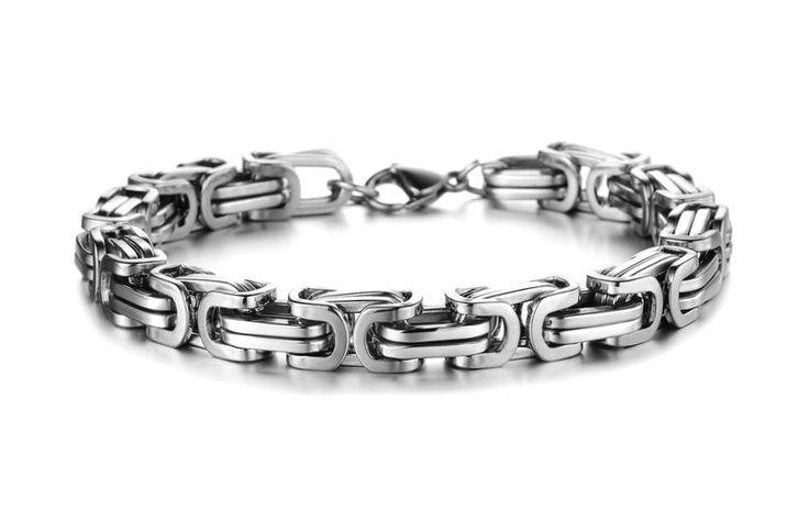 Mandig herrearmbånd armlenke i blankt rustfritt stål, en god gaveide for gutt og mann.