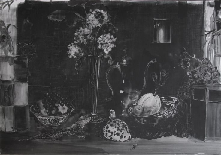 Christopher Cook 'DMZ still life' graphite and oil on paper  72 x 102cm. 2017. A recent image from the still life series, made during a residency at NiMAC Nicosia. The urban scenography brought about a shift in relative scale.