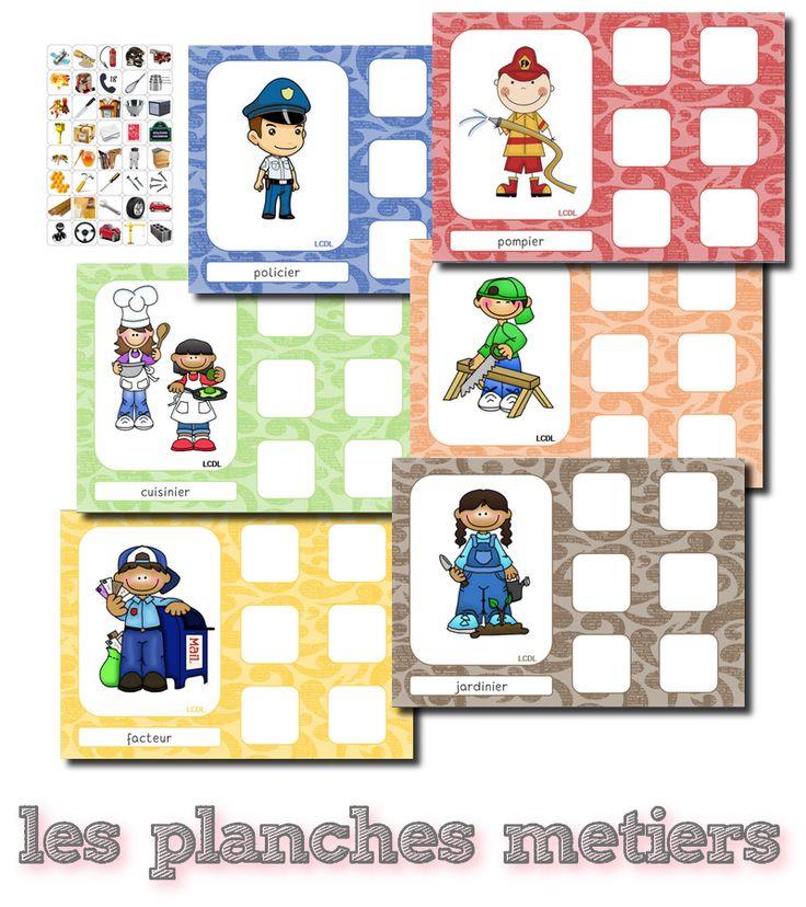 Nouveau jeu sur le thème des métiers.   Chaque enfant prend une planche qui fait référence à un métier et doit trouver les 6 images qui lui...