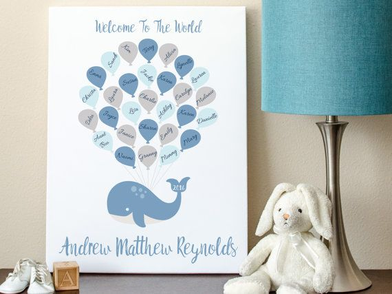 Baby Shower Guest Book Alternative Whale Guest By MadeForKeepsShop