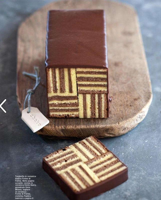 Torta a righe al cioccolato