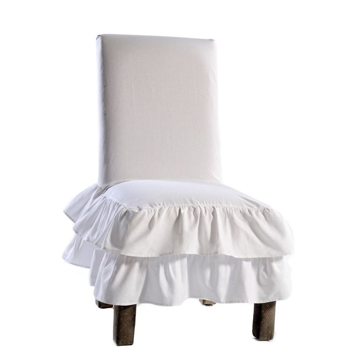 Classic Slipcovers Cotton Tiered Ruffled Dining Chair Slipcover