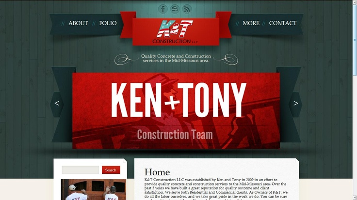 Website designed for a local contracting company, K Construction LLC