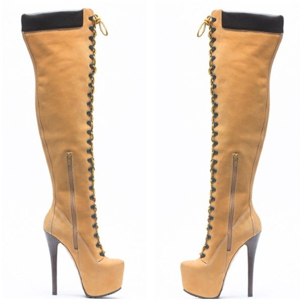 """Celebs Love ZigiNY """"Sense"""" Suede Thigh High Timberland Boots! found on Polyvore featuring polyvore, women's fashion, shoes, boots, suede thigh-high boots, over the knee thigh high boots, suede boots, over the knee suede boots and suede leather boots"""