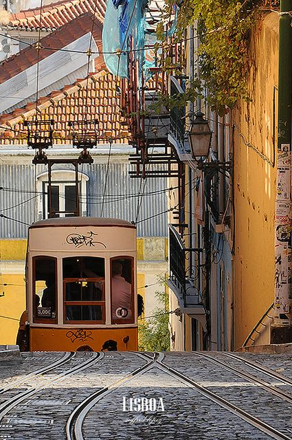 Cable car, Bairro Alto, Lisbon, Portugal.  Photo: Sigfrid Lopez via Flickr.