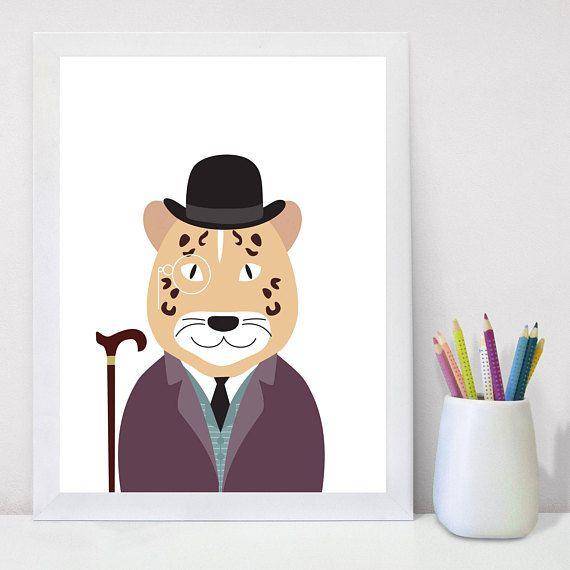 Nursery Prints, Kids Playroom Decor, Printable Wall Art, Leopard, Wall Art Kids, Indian Animals, Print Safari Animals, Baby Shower Gift,