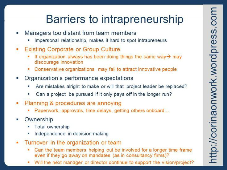 Barriers to intrapreneurship: what keeps your leaders from being innovative and displaying leadership in your organization - big or small!