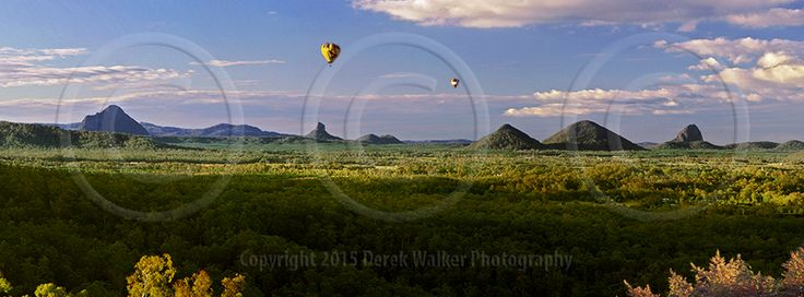 Hot air balloons drifting through the Glasshouse Mountains in Queensland, Australia.  For image licensing enquiries, please feel welcome to contact me at derekwalker73@bigpond.com  Cheers :)