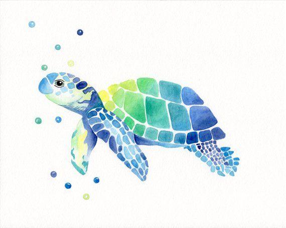 Schildkröte Aquarell – Original Baby Meeresschildkröte Malerei – Kinderzimmer Kunst – Baby Boy – Baby Girl – Meerestier – hawaiianische Kindergarten