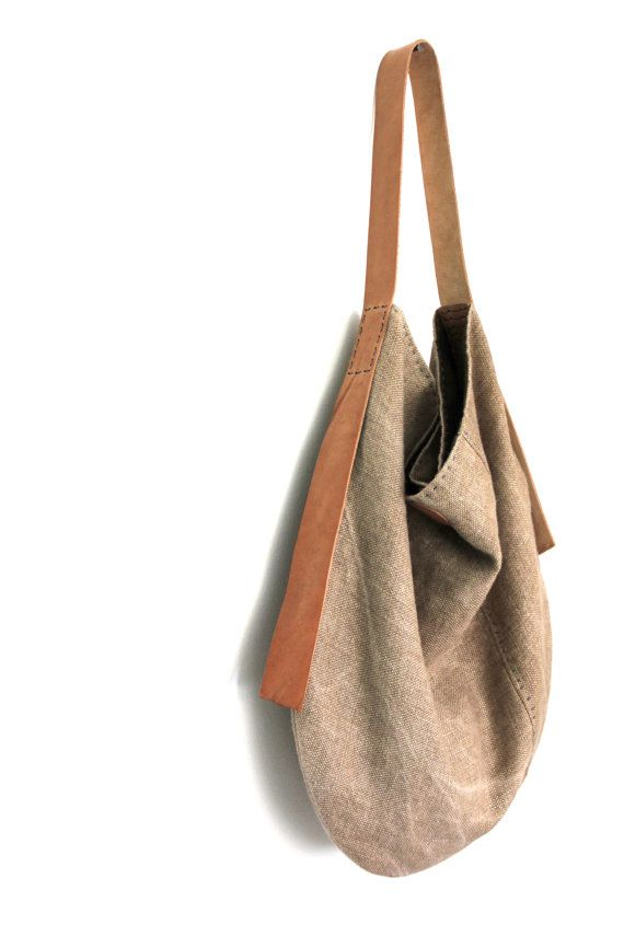 Handmade Belgian Linen Slouch Bag  Sun Kissed Chaparral by groslie
