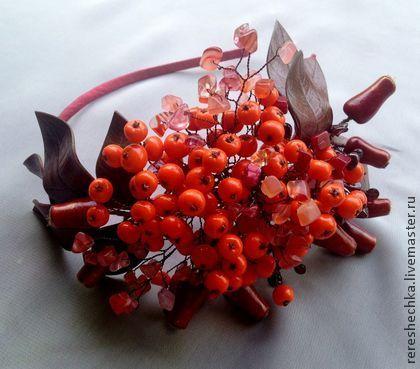 """""""Рябиновый коктейль"""" Ободок для волос - оранжевый,красный,Рябина,шиповник"""