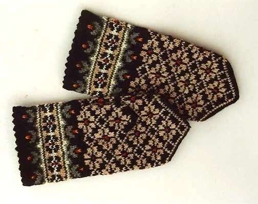 High quality hand knitted warm wool mittens , gloves patterned grey brown. $50.00, via Etsy.