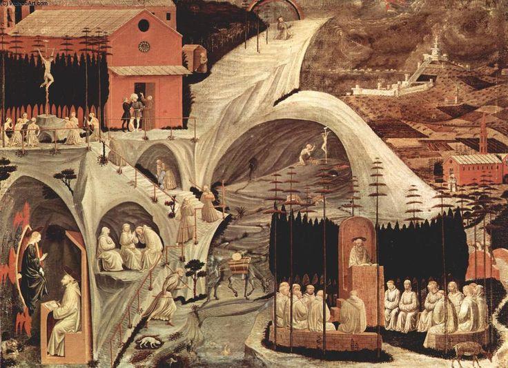 'Épisodes de la vie d ermite', détrempe de Paolo Uccello (1397-1475, Italy)