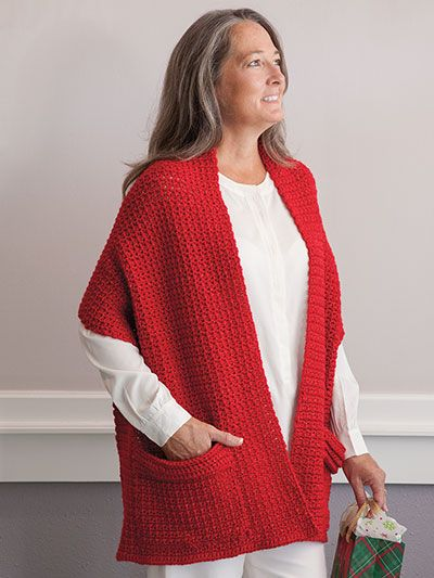 On chilly nights, this crochet wrap is perfect for snuggling. It's stylish enough to wear out but so comfy that you'll reach for it while you're lounging around the house, too. This crochet wrap pattern is quick and easy-to-stitch. One size fits most...