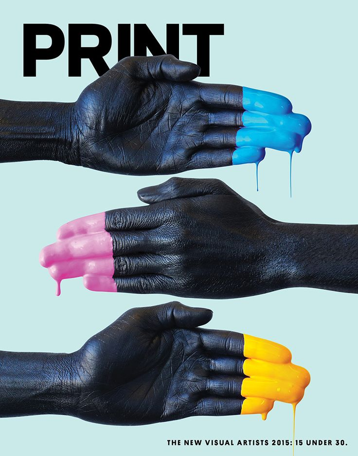 This is an interesting magazine cover because they use their brand name and portray it in their photo. In the photo they use black hands covered in the printing colors; cyan, magenta, and yellow. This makes the magazine brand stand out