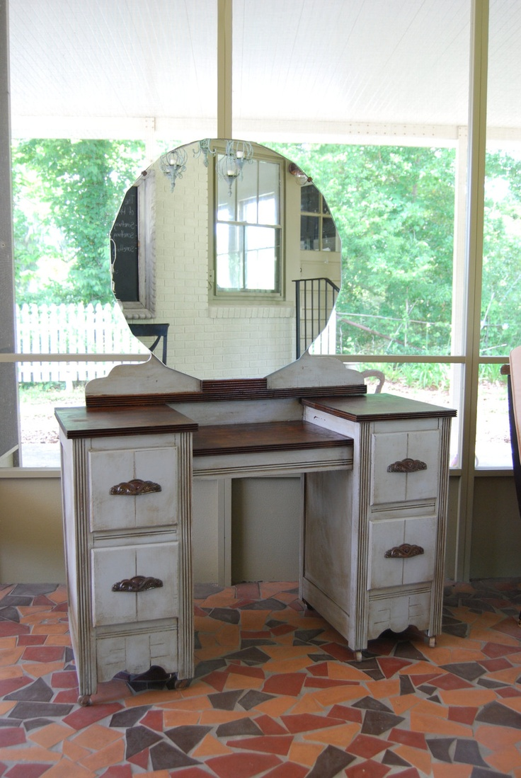 Painted Vanity Furniture: Vintage Painted Vanity. $650.00, Via Etsy.