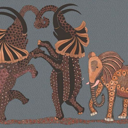 Ardmore, Cole & Son Safari Dance Wallpaper A wonderfully fun wallpaper featuring a trio of elephants dancing horizontally across the African Plains on a softly speckled backdrop. Shown in red and charcoal.