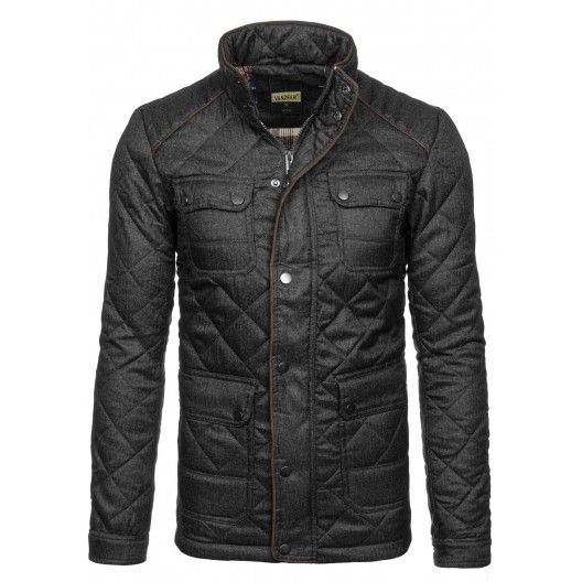 Pánska zimná prešívaná bunda čiernej farby - fashionday.eu