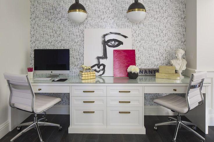 Built In Desk for Two, Contemporary, den/library/office, Martha O'Hara Interiors