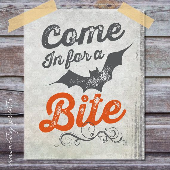 Printable Halloween Decor. Instant Download Witch in the House Art Print. Come in for a Bite Halloween Wall Art. Retro Halloween Decor.