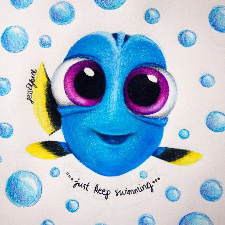 Drawing of baby Dory by Jess Elford. Drawn with prismacolor pencils