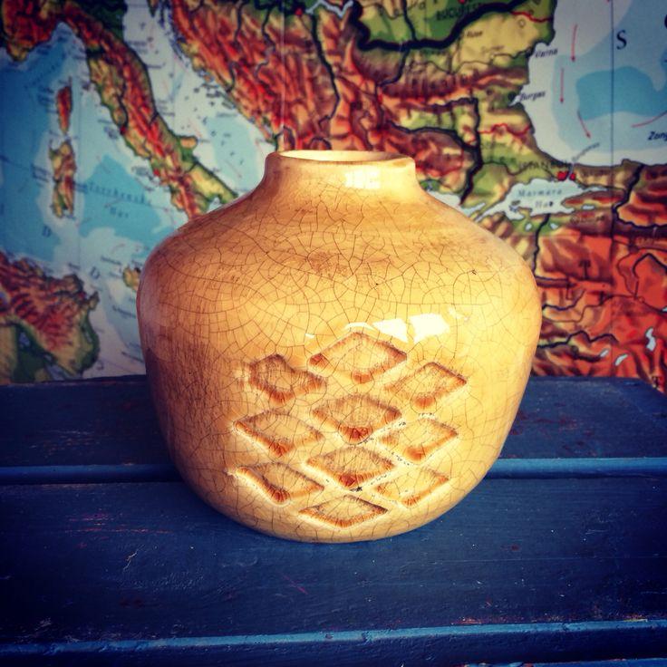 Lækker glaseret keramikvase/krukke 140 kr