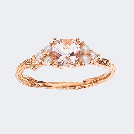 Rose gold, morganite stone, twig band and pearls.