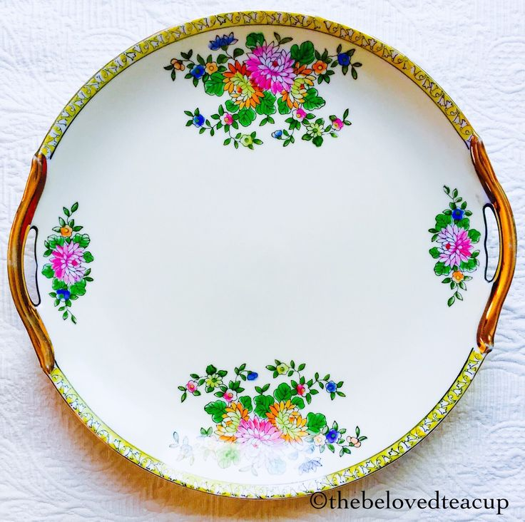 Noritake Japan Dahlia Floral Gold Handled Cake Plate by TheBelovedTeacup on Etsy https://www.etsy.com/ca/listing/230214128/noritake-japan-dahlia-floral-gold