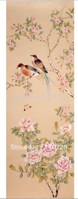 Dipinta A mano di seta carta da parati pittura Peonia fiori di Ciliegio uccelli molte immagini optional
